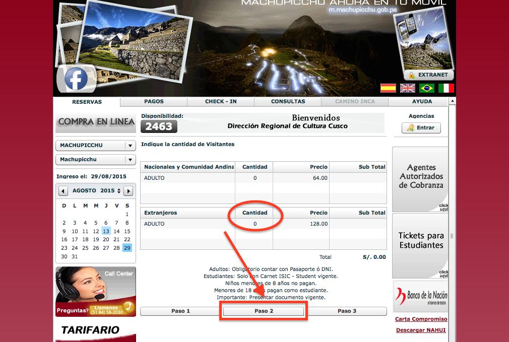 Primo passaggio per la prenotazione dei biglietti per Machu Picchu