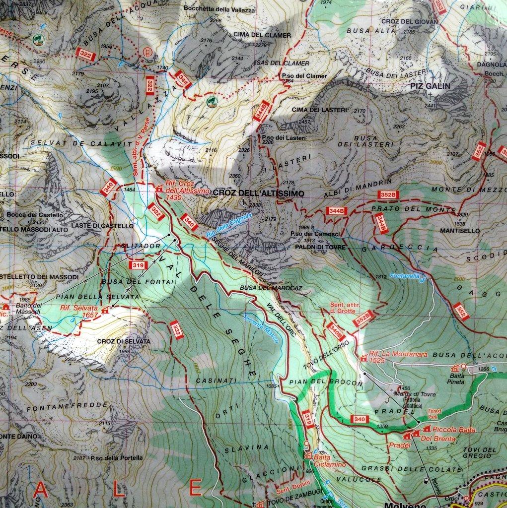 mappa dell'escursione al croz dell'altissimo