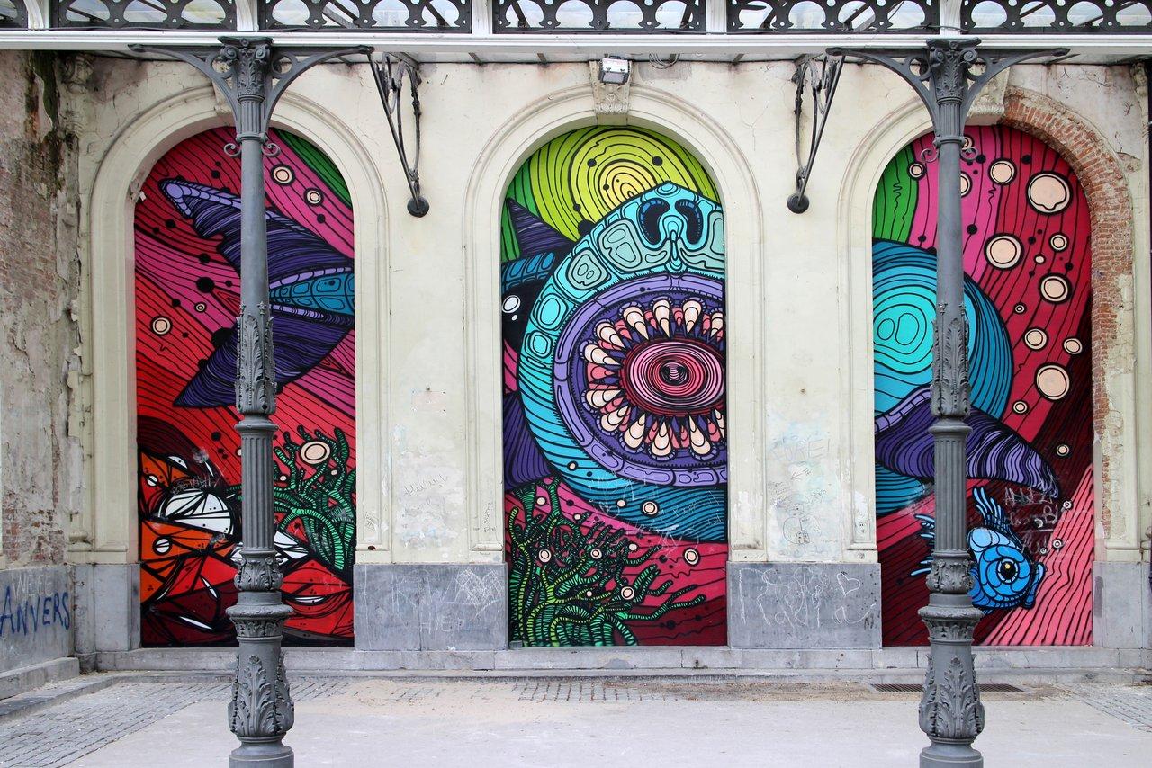 graffiti di anversa e street art: Dzia e Vanhee Harmoniepark. Dettaglio