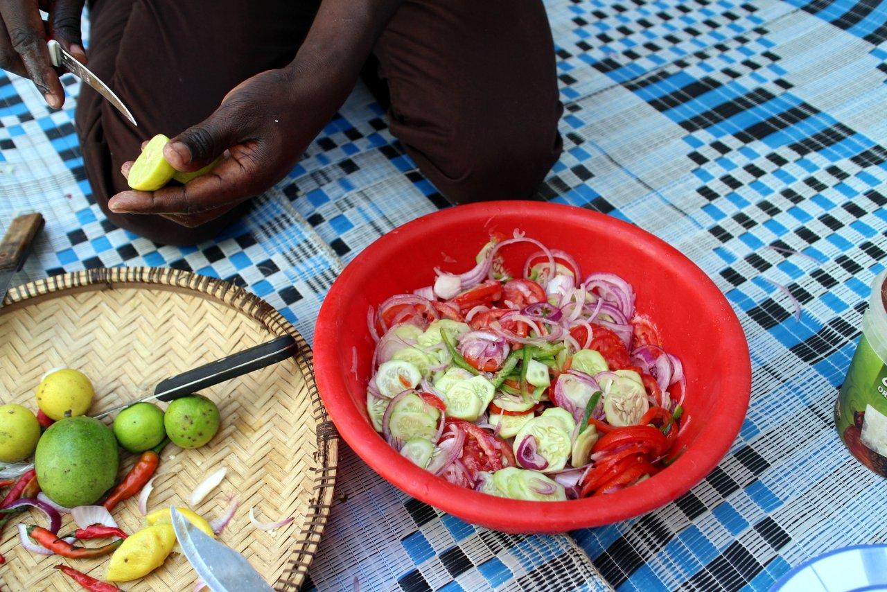corso di cucina a zanzibar - insalata