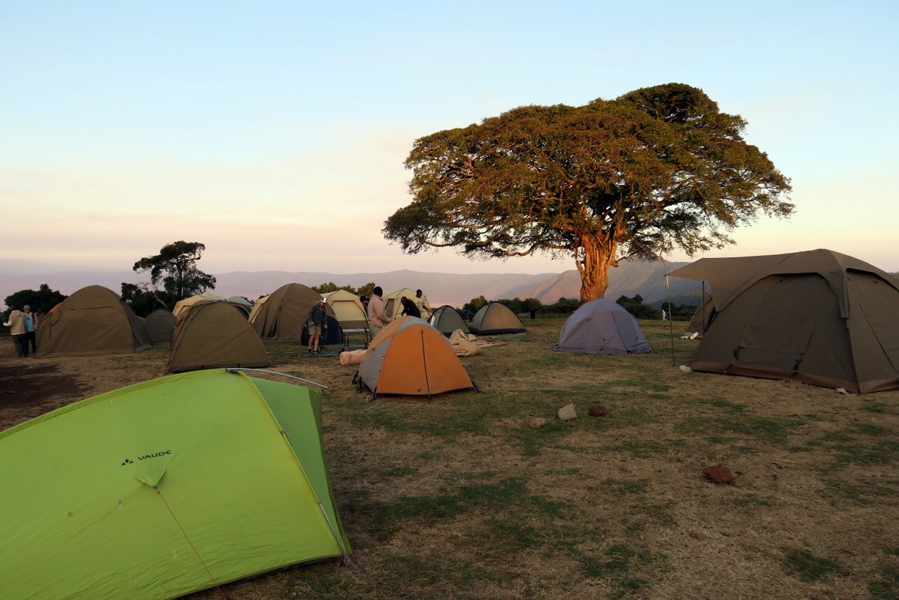 organizzare un safari in tanzania: Il campeggio pubblico del Ngorongoro