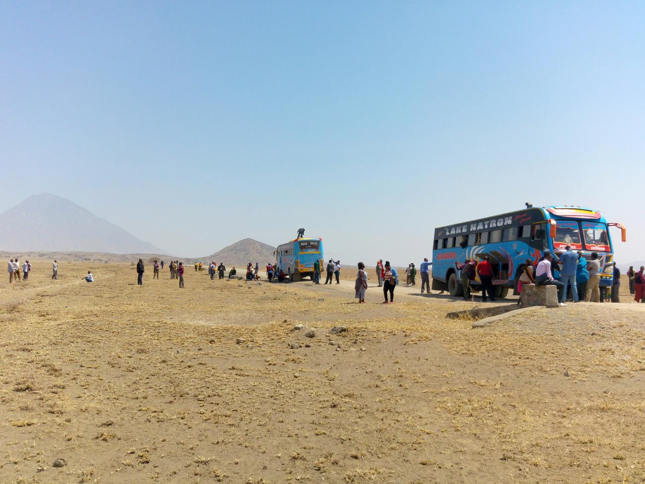 lago natron tanzania: fermi nel deserto con l'autobus