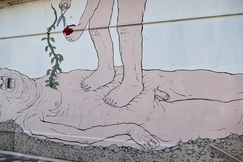 Street Art a Santa Croce di Magliano: L'urlo di Gheorghe di Nemo's